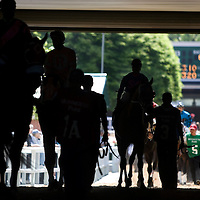 (PPAGE1) Monmouth Park 5/13/2006  Horses head to the track from the paddock area.    Michael J. Treola Staff Photographer.....MJT