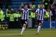 Sheffield Wednesday striker Fernando Forestieri (45) scores but his goal is disallowed during the Sky Bet Championship Play Off First Leg match between Sheffield Wednesday and Brighton and Hove Albion at Hillsborough, Sheffield, England on 13 May 2016.