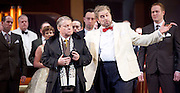 Rigoletto <br /> by Verdi <br /> English National Opera at the London Coliseum, London, Great Britain <br /> rehearsal <br /> 31st January 2017 <br /> <br /> <br /> <br /> Nicholas Pallesan as Rigoletto <br /> <br /> <br /> <br /> Nicholas Folwell as Monterone <br /> <br /> <br /> <br /> <br /> <br /> Photograph by Elliott Franks <br /> Image licensed to Elliott Franks Photography Services