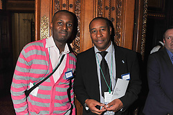 Left to right, STUART LAWRENCE and MERVYN LYN at a reception for the Stephen Lawrence Charitable Trust hosted by the Speaker of The House of Commons John Bercow and supported by law firm Freshfields Bruckhaus Deringer in The State Rooms, Speaker's House, the House of Commons, London on 19th December 2012.