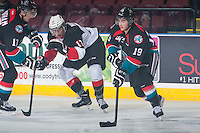 KELOWNA, CANADA - DECEMBER 5: Dillon Dube #19 of Kelowna Rockets skates with the puck against the Prince George Cougars on December 5, 2014 at Prospera Place in Kelowna, British Columbia, Canada.  (Photo by Marissa Baecker/Shoot the Breeze)  *** Local Caption *** Dillon Dube;