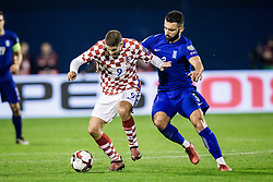 Andrej Kramaric of Croatia and Giorgos Tzavellas of Greece during the football match between National teams of Croatia and Greece in First leg of Playoff Round of European Qualifiers for the FIFA World Cup Russia 2018, on November 9, 2017 in Stadion Maksimir, Zagreb, Croatia. Photo by Ziga Zupan / Sportida