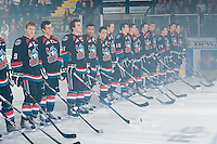 KELOWNA, CANADA, OCTOBER 1: The Kelowna Rockets skate against the Vancouver Giants on October 1, 2011 at Prospera Place in Kelowna, British Columbia, Canada (Photo by Marissa Baecker/Getty Images) *** Local Caption ***