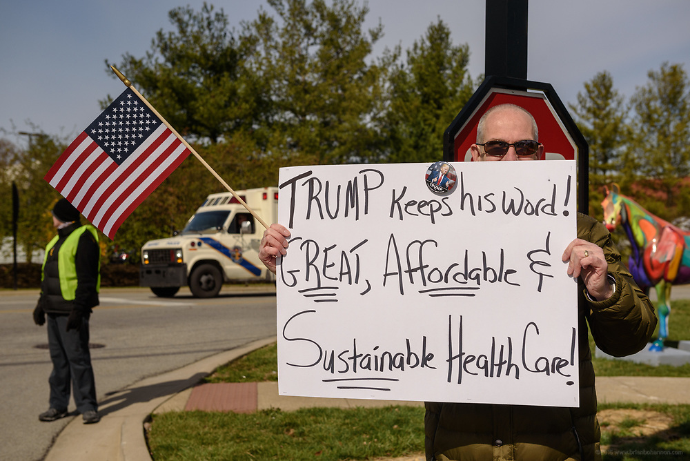 Jeffrey Bryant, said he was with Democrats for Trump, and a Trump supporter. Groups protest The Republican Party's proposed changes to the Affordable Care Act during a visit by Vice President Mike Pence with Kentucky Governor Matt Bevin and business leaders Saturday, March 11, 2017 at Trane Parts and Distribution Center, 12850 Plantside Drive, Louisville, Ky. (Photo by Brian Bohannon)