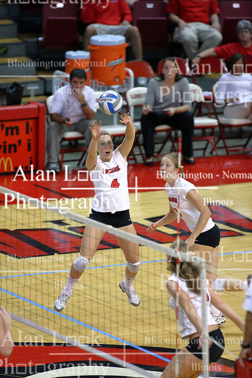 28 September 2008: Erin Lindsey sets up a Redbird attack. The Braves took the first set, but the Illinois State Redbirds grabbed 3 sets in a row to win the match 3 sets to 1. The Bradley Braves visited the Illinois State Redbirds at Redbird Arena on the campus of Illinois State University in Normal Illinois.