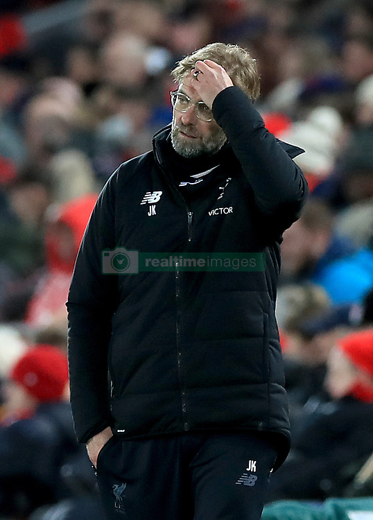 Liverpool manager Jurgen Klopp during the Emirates FA Cup, fourth round match at Anfield, Liverpool.