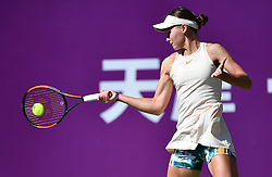 TIANJIN, Oct. 8, 2018  Veronika Kudermetova of Russia competes during the women's singles first round match against Alison Riske of the United States at the WTA Tianjin Open tennis tournament in Tianjin, north China, Oct. 8, 2018. Veronika Kudermetova won 2-1. (Credit Image: © Li Ran/Xinhua via ZUMA Wire)