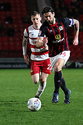 Blackburn Rovers defender and Captain Charlie Mulgrew (14) in possession during the EFL Sky Bet League 1 match between Doncaster Rovers and Blackburn Rovers at the Keepmoat Stadium, Doncaster, England on 24 April 2018. Picture by Mick Atkins.