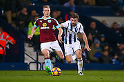 Burnley defender Ben Mee (6)  is closed down by West Bromwich Albion midfielder James Morrison (7)  during the Premier League match between West Bromwich Albion and Burnley at The Hawthorns, West Bromwich, England on 21 November 2016. Photo by Simon Davies.