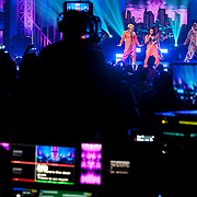 January 30, 2013 - New York, NY : In orange suits, TLC's Tionne 'T-Boz' Watkins, left, and Rozonda 'Chilli' Thomas perform as part of VH1 Super Bowl Blitz at the Beacon Theatre in Manhattan on Thursday night. The concert was recorded live at 9pm EST and broadcasted at 11pm. CREDIT: Karsten Moran for The New York Times