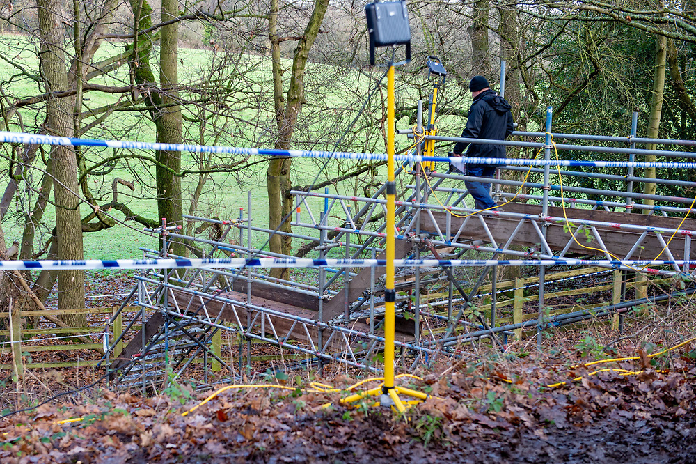 FILE IMAGE © Licensed to London News Pictures. 11/12/2019. Beaconsfield, UK. A police officer walks down a temporary structure designed for easier access to the search site as the Metropolitan Police Service confirm they are searching woodland in Beaconsfield, Buckinghamshire in connection with the disappearance and murder of Mohammed 'Shah' Subhani. Police have been in the area conducting operations on Hedgerley Lane since Thursday 5th December 2019 and are combing wooded area with specialist officers assisted by specialist search dogs. Photo credit: Peter Manning/LNP