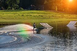 Otepää wakepark in Estonia. Extreme sport, adventure park, wakeboarding.