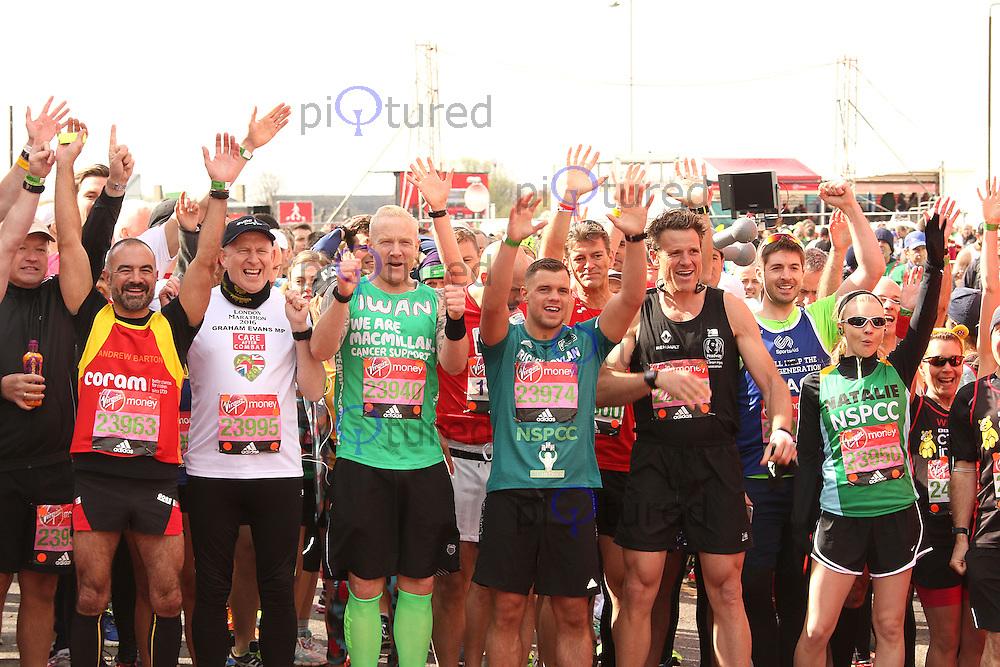 Andrew Barton, Graham Evans, Iwan Thomas, Ricky Boylan, James Cracknell & Natalie Dormer, Virgin Money London Marathon, London UK, 24 April 2016, Photo by Brett D. Cove