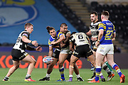 Leeds Rhinos full back Ashton Golding (1) offloads the ball during the Betfred Super League match between Hull FC and Leeds Rhinos at Kingston Communications Stadium, Hull, United Kingdom on 19 April 2018. Picture by Mick Atkins.