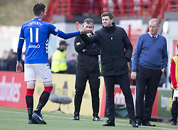 Rangers manager Steven Gerrard shakes hands with Kyle Lafferty at the end of game during the Scottish Premiership match at the Superseal Stadium, Hamilton.