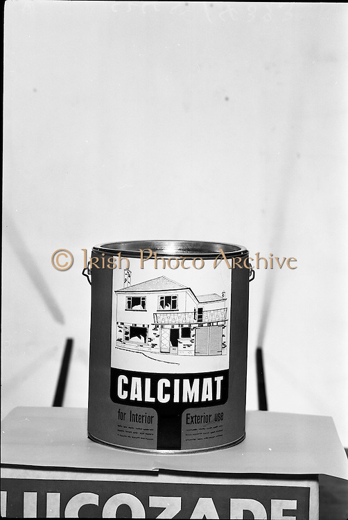 16/05/1963<br /> 05/16/1963<br /> 16 May 1963<br /> Product shot of a can of Calcimat paint for interior and exterior use, mounted on a Lucozade box and shot for Lynches Advertising.