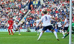PRESTON, ENGLAND - Saturday, July 19, 2014: Liverpool's Kristoffer Pieterson scores the second goal against Preston North End during a preseason friendly match at Deepdale Stadium. (Pic by David Rawcliffe/Propaganda)