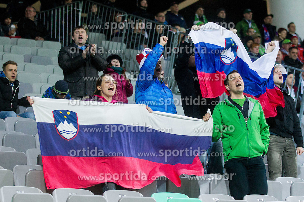 Supporters of Slovenia during football match between NationalTeams of Slovenia and San Marino in Round 5 of EURO 2016 Qualifications, on March 27, 2015 in SRC Stozice, Ljubljana, Slovenia. Photo by Vid Ponikvar / Sportida