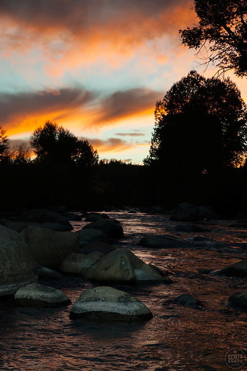 """Truckee River Sunset 2"" - This sunset was photographed along the Truckee River in Downtown Truckee, California."