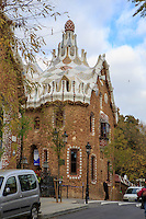 The gingerbread house at the entrance to Park Guell in Barcelona, Spain