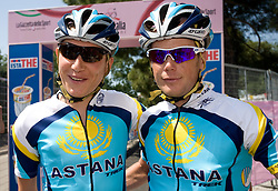Jani Brajkovic (SLO) and Christopher Horner (USA) of Team Astana at start point of the 198 km long 3rd stage from Grado, Italy to Valdobbiadene, Italy at 92nd Giro d'Italia, on May 11, 2009, in Grado, Italy. (Photo by Vid Ponikvar / Sportida)