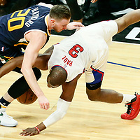 15 April 2017: Utah Jazz forward Gordon Hayward (20) vies for the ball with LA Clippers guard Chris Paul (3) during the Utah Jazz 97-95 victory over the Los Angeles Clippers, during game 1 of the first round of the Western Conference playoffs, at the Staples Center, Los Angeles, California, USA.