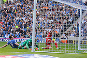 Cardiff City striker Joe Mason celebrates his goal during the Sky Bet Championship match between Brighton and Hove Albion and Cardiff City at the American Express Community Stadium, Brighton and Hove, England on 3 October 2015. Photo by Phil Duncan.