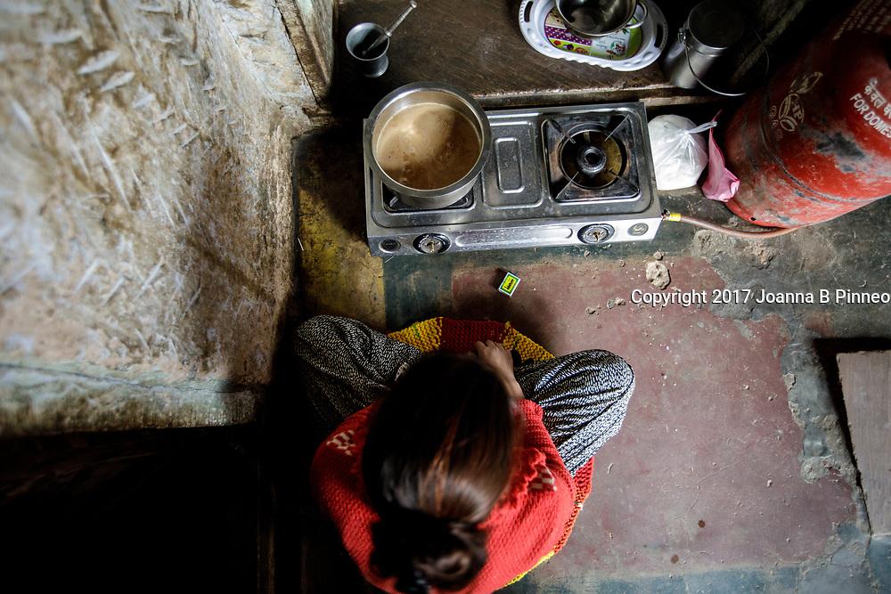 Making tea on the LPG stove. India.