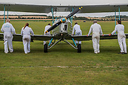 """A Blackburn B"""" is pushed around the flight line - The Duxford Battle of Britain Air Show is a finale to the centenary of the Royal Air Force (RAF) with a celebration of 100 years of RAF history and a vision of its innovative future capability."""