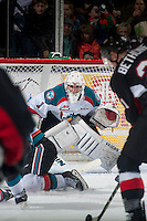 KELOWNA, CANADA - JANUARY 3: Jackson Whistle #1 of Kelowna Rockets defends the net against the Prince George Cougars on January 3, 2015 at Prospera Place in Kelowna, British Columbia, Canada.  (Photo by Marissa Baecker/Shoot the Breeze)  *** Local Caption *** Jackson Whistle;