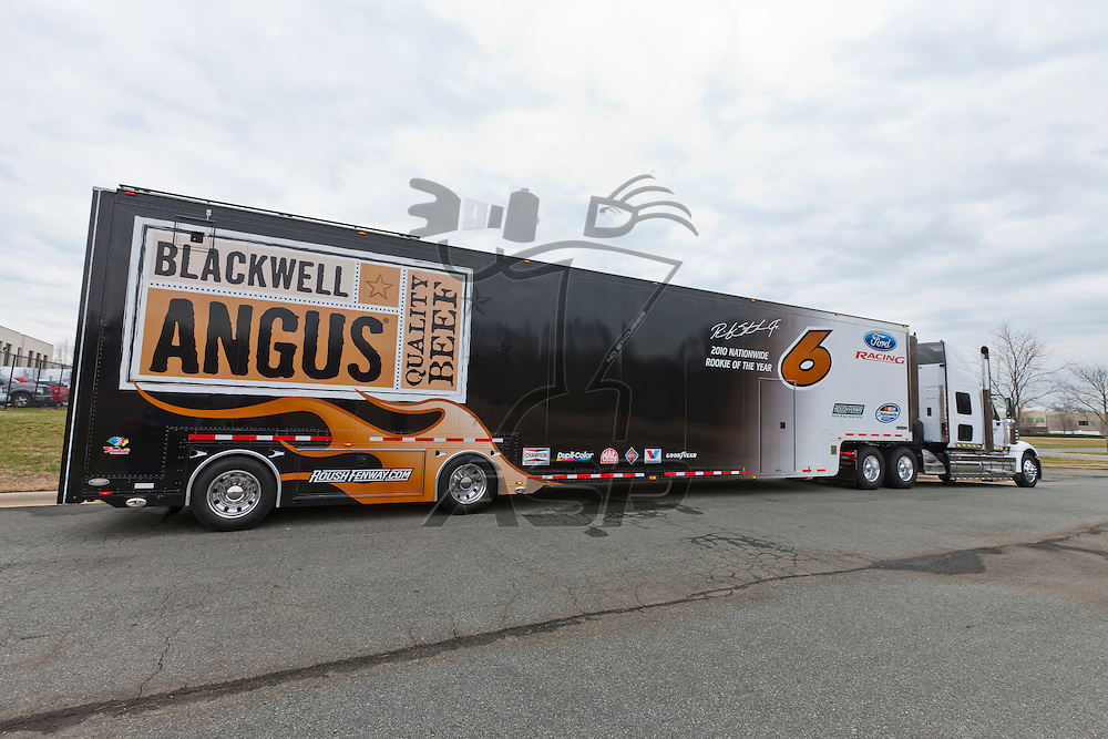 Concord, NC - January 20, 2012:  The #6 Ricky Stenhouse, Jr. hauler at the Roush Fenway Racing Complex in Concord, NC.