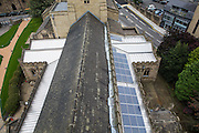 The solar PV panels, fitted to the roof of Bradford Cathedral, generating funds to support the local community of Bradford.