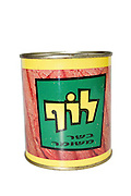 Cutout of a tin of Luf, Israeli Kosher SPAM on white background. Spam is used by the Israeli Defense force as a primary item in combat meals. The Israeli recipe includes the traditional ingredients, with one major difference, being the use of beef instead of pork, due to the dietary requirements of Judaism, which strictly forbid the consumption of pork