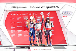 19.03.2017, Aspen, USA, FIS Weltcup Ski Alpin, Finale 2017, Riesenslalom, Damen, Siegerehrung, im Bild Mikaela Shiffrin (USA, Gewinnerin des Slalom und des Gesamt Weltcup), Tessa Worley (FRA, Gewinnerin Riesen Slalom Weltcup), Sofia Goggia (ITA, 3. Platz Riesenslalom Weltcup) // Winner of the Slalom and the Overall World Cup Mikaela Shiffrin of the USA, winner of the Giant Slalom World Cup Tessa Worley of France, third placed Giantslalom World cup Sofia Goggia of Italy during the winner presentation for the ladie's Giantslalom of 2017 FIS ski alpine world cup finals. Aspen, United Staates on 2017/03/19. EXPA Pictures © 2017, PhotoCredit: EXPA/ Erich Spiess