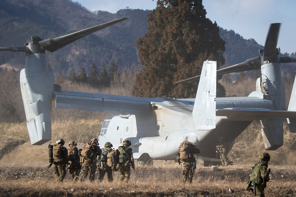 GUNMA, JAPAN - MARCH 10 : US Marines rescue an injured person in a simulated training during a joint training drill with Japan Maritime Self Defense Force's in Camp Soumagahara , Gunma prefecture, Japan on March 10, 2017. (Photo: Richard Atrero de Guzman/ANADOLU Agency)