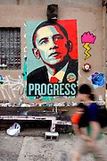 An Obama poster on a wall in the Williamsburg neighborhood of New York.