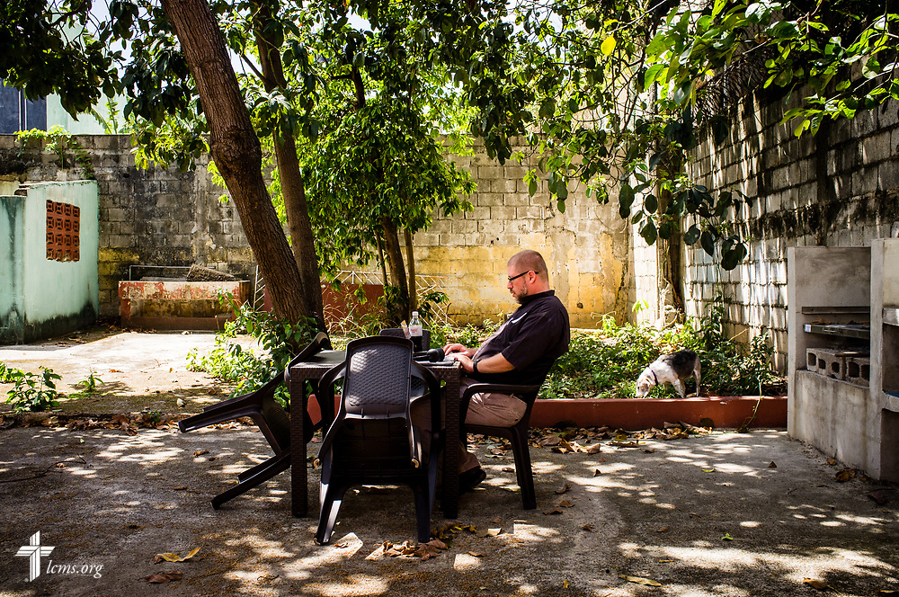 The Rev. Joel Fritsche, LCMS career missionary to the Dominican Republic, prepares his sermon on Saturday, March 18, 2017, in Santo Domingo. LCMS Communications/Erik M. Lunsford