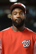 PHOENIX, AZ - JULY 22:  Brian Goodwin #8 of the Washington Nationals reacts during batting practice for the MLB game against the Arizona Diamondbacks at Chase Field on July 22, 2017 in Phoenix, Arizona.  (Photo by Jennifer Stewart/Getty Images)