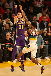 February 27, 2019 - Los Angeles, CA, U.S. - LOS ANGELES, CA - FEBRUARY 27: Los Angeles Lakers Forward Mike Muscala (31) shoots during the first half of the New Orleans Pelicans versus Los Angeles Lakers game on February 27, 2019, at Staples Center in Los Angeles, CA. (Photo by Icon Sportswire) (Credit Image: © Icon Sportswire/Icon SMI via ZUMA Press)