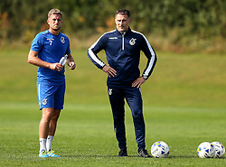 Bristol Rovers coach Chris Hargreaves talks to Lee Mansell of Bristol Rovers - Mandatory by-line: Robbie Stephenson/JMP - 15/09/2016 - FOOTBALL - The Lawns Training Ground - Bristol, England - Bristol Rovers Training
