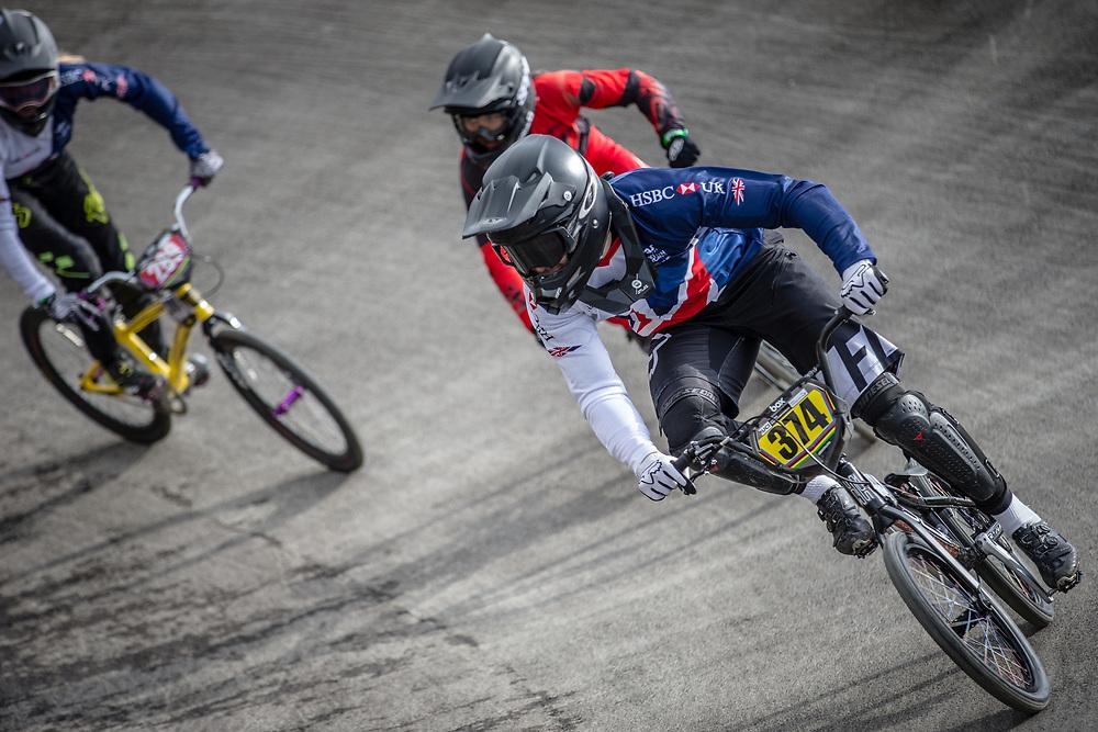 #374 during practice at the 2018 UCI BMX World Championships in Baku, Azerbaijan.