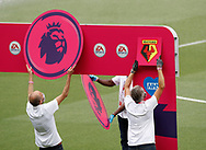 Premier League signs are erected before the Premier League match at Vicarage Road, Watford. Picture date: 20th June 2020. Picture credit should read: Darren Staples/Sportimage