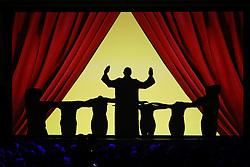 03.10.2015, Frankfurt am Main, GER, Tag der Deutschen Einheit, im Bild Schattenspielinszenierung beim Festakt in der Alten Oper Frankfurt zu Geschehnissen nach der Einheit 1990: Wir sind Papst // during the celebrations of the 25 th anniversary of German Unity Day in Frankfurt am Main, Germany on 2015/10/03. EXPA Pictures © 2015, PhotoCredit: EXPA/ Eibner-Pressefoto/ Roskaritz<br /> <br /> *****ATTENTION - OUT of GER*****