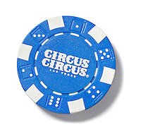 Circus Circus poker chip on white background