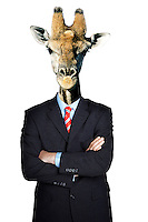 Business man dressed as giraffe