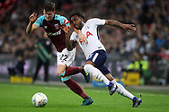 Danny Rose of Tottenham Hotspur (R) tries to go past Sam Byram of West Ham United (L). EFL Carabao Cup, 4th round match, Tottenham Hotspur v West Ham United at Wembley Stadium in London on Wednesday 25th October 2017.<br /> pic by Steffan Bowen, Andrew Orchard sports photography.