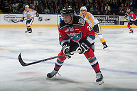KELOWNA, CANADA - OCTOBER 25: Austin Glover #20 of Kelowna Rockets skates against the Brandon Wheat Kings on October 25, 2014 at Prospera Place in Kelowna, British Columbia, Canada.  (Photo by Marissa Baecker/Shoot the Breeze)  *** Local Caption *** Austin Glover;