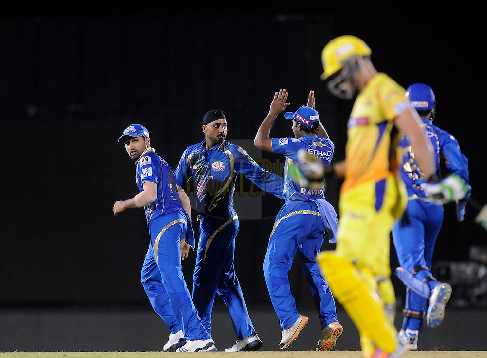 Harbhajan Singh of the Mumbai Indians celebrates the wicket of Dwayne Smith of The Chennai Superkings during the eliminator match of the Pepsi Indian Premier League Season 2014 between the Chennai Superkings and the Mumbai Indians held at the Brabourne Stadium, Mumbai, India on the 28th May  2014<br /> <br /> Photo by Pal PIllai / IPL / SPORTZPICS<br /> <br /> <br /> <br /> Image use subject to terms and conditions which can be found here:  http://sportzpics.photoshelter.com/gallery/Pepsi-IPL-Image-terms-and-conditions/G00004VW1IVJ.gB0/C0000TScjhBM6ikg