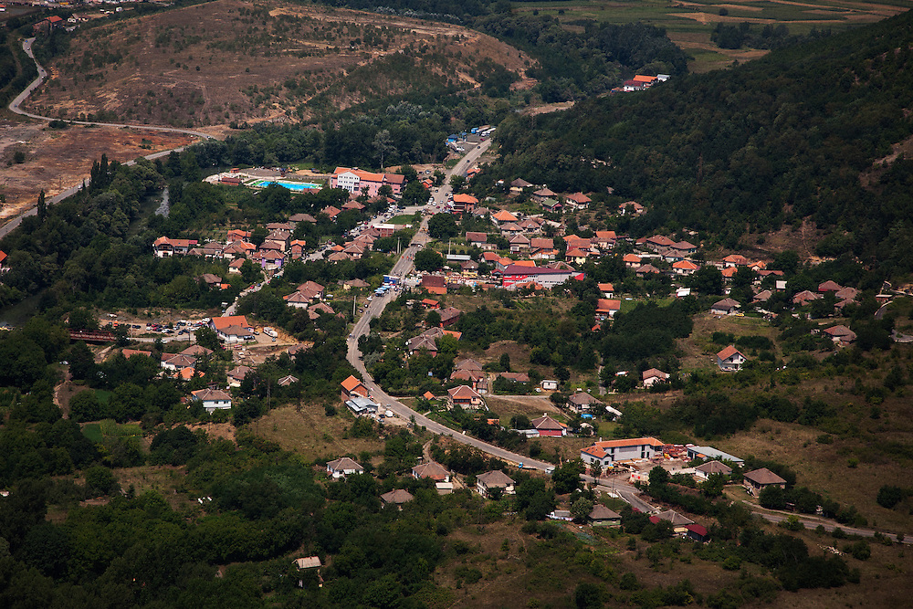 The roadblock at Rudare seen from the ancient Serbian fortress on Zvecan hill...Border crisis, July 2011