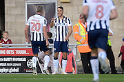 Millwall striker Lee Gregory (9) scores a goal and celebrates during the EFL Sky Bet League 1 match between Northampton Town and Millwall at Sixfields Stadium, Northampton, England on 15 October 2016. Photo by Dennis Goodwin.